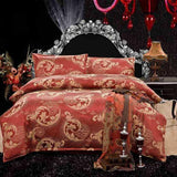 Luxury Embroidered Satin Jacquard Bedding Set.  Linen Sheet set Queen/King Size - Cool Tees and Things