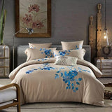 4 Pcs Luxury Royal Bedding Sets with Embroidery King Queen Size Duvet Cover Bed Sheet Pillowcase
