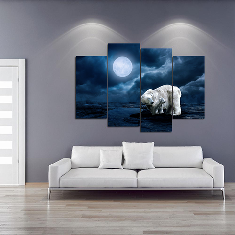 Magnificent Polar Bear and Cub Canvas-Medium-Not Framed-White-Blue-Cool Tees & Things