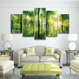 Magnificent Sunlit Green Trees Forest Canvas-size1 W 100cm H 55cm-Not Framed-Green-Cool Tees & Things