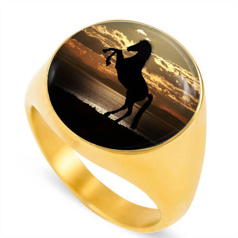 Magnificent Sunlit Horse Luxury Ring - Cool Tees and Things
