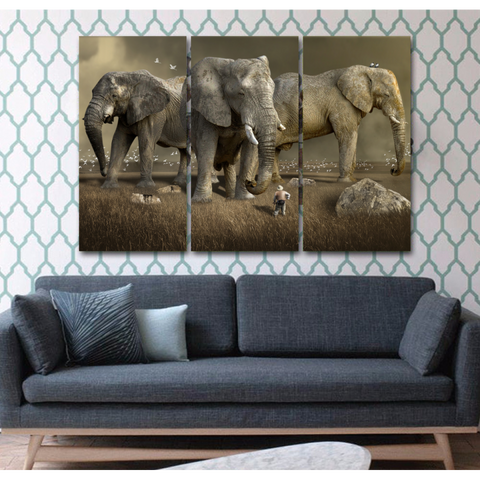 Magnificent Wild Elephants Animal Canvas Print - Cool Tees and Things