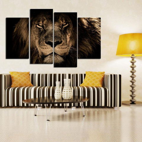 Majestic African Lion-Medium-Not Framed-Black/White/Gray-Cool Tees & Things