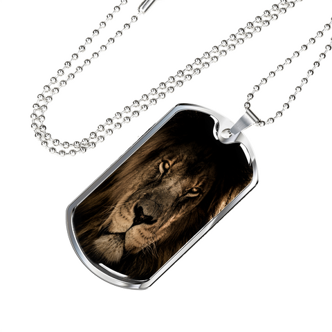 Majestic African Lion Dog Tag - Cool Tees and Things