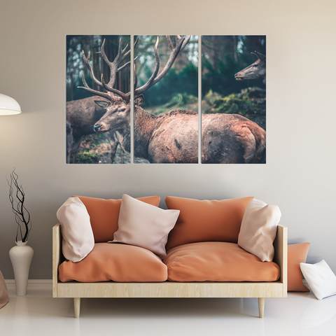 Majestic Deer Lovers Canvas-Wallart 3 Piece Vertical Rectangle-Medium - Not framed-Brown-Cool Tees & Things