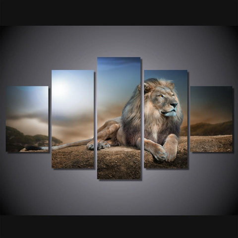 Majestic King Of The Jungle- Medium Framed Lion Canvas Print Wall Art Mural - Cool Tees and Things