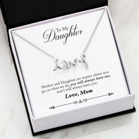 To My Daughter From Mom-Scripted Love Necklace- Cool Tees and Things