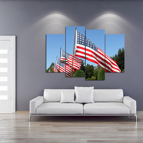 Memorial Day- Always Remember Canvas-Medium-Not Framed-Red-White-Blue-Cool Tees & Things