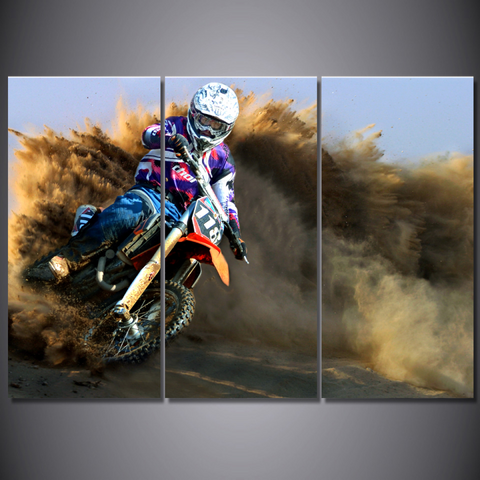 Motocross Lovers Canvas-Wallart 3 Piece Vertical Rectangle-Medium - Not frame-Cool Tees & Things