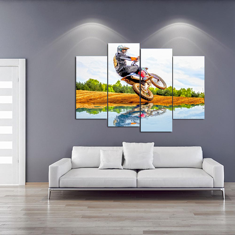 Motocross Rider Canvas-Medium-Not Framed-Brown, Black, Blue-Cool Tees & Things