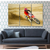 Motocross Rider-Wallart 3 Piece Vertical Rectangle-Medium - Not framed-Cool Tees & Things