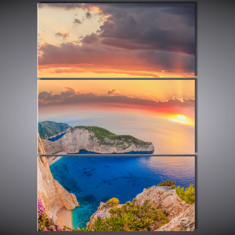 Navagio Beach At Sunset-Medium-Not Framed-Cool Tees & Things