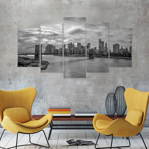 New York- Manhattan Skyline Canvas-Medium-Not Framed-Grayscale-Cool Tees & Things