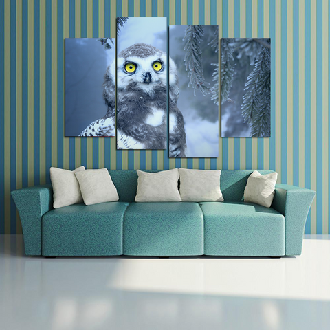 Nocturnal Wise Owl Canvas-Medium-Not Framed-White-Gray-Cool Tees & Things