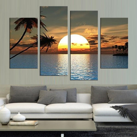 Ocean Sunset Canvas-Medium-Frame-Blue-Cool Tees & Things
