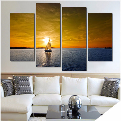 Ocean Sunset Sailing-Wallart 4 Piece Staggered 2-Medium - No frame-Orange/Blue-Cool Tees & Things