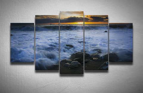 Ocean Waves At Sunset-Medium-Not Framed-Cool Tees & Things