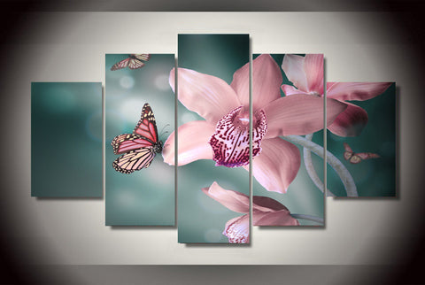 Pink Butterflies and Orchids-Medium-Not Framed-Cool Tees & Things