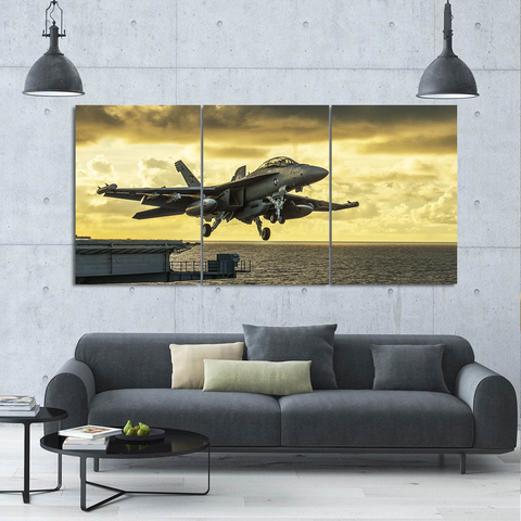 Powerful Jet Airplane Canvas-Wallart 3 Piece Vertical Rectangle-Medium - Not framed-Yellow-Cool Tees & Things