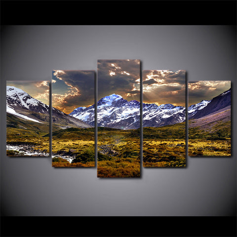 Ice Mountain Grasslands Landscape-10x15 10x20 10x25cm-Framed-Brown-Cool Tees & Things