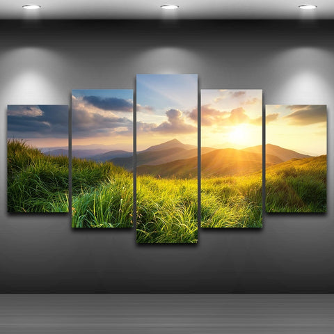 Mountain Prairie Sunset Canvas-10x15 10x20 10x25cm-Framed-Orange-Cool Tees & Things