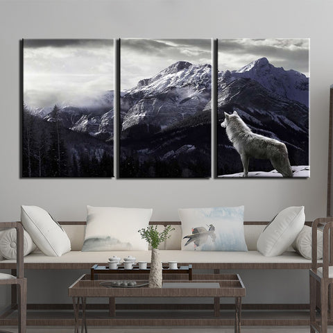 Wolf Gazing Mountain Mist Canvas Print- Cool Tees and Things