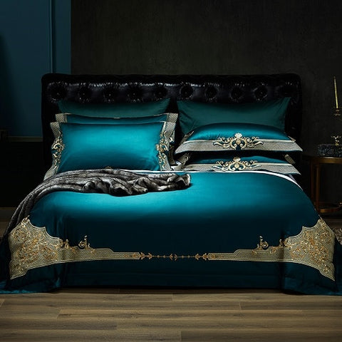 Stunning 4 Piece Luxury 1000TC Egyptian Cotton Embroidered Royal Bedding Set.Duvet Cover. Queen King