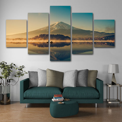 Breathtaking Lake View Mountain Canvas Print-Medium-Not Framed-LightSeaGreen-Cool Tees & Things