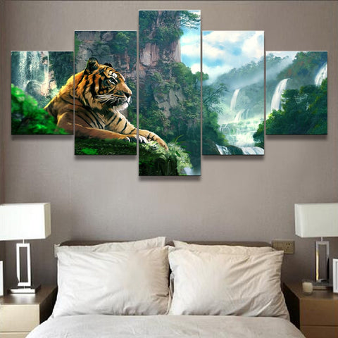 Magnificent Tiger By Waterfall-10x15 10x20 10x25cm-Framed-Green-Cool Tees & Things