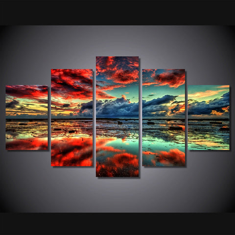 Red Clouds At Sunset-Medium-Not Framed-Cool Tees & Things