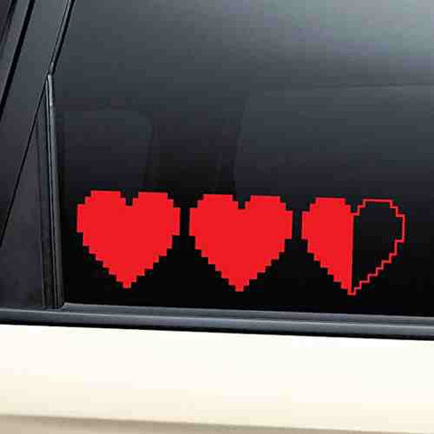 Red- Hearts 8-Bit Retro Video Game Gaming Vinyl Decal Laptop Car Truck Bumper Window Sticker - Cool Tees and Things