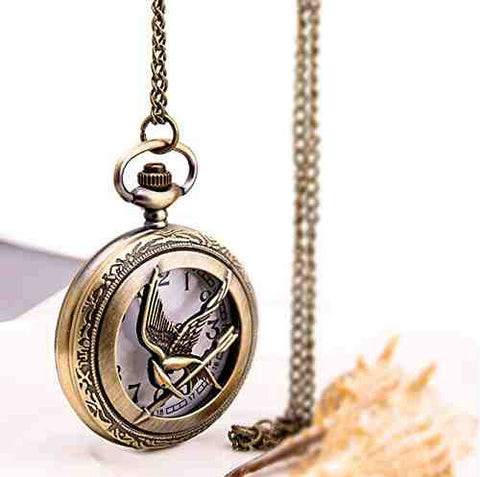 retro Quartz pocket watch with Chain New wholesale fashion pocket watch New Antique Pierced Hunger Games - Cool Tees and Things