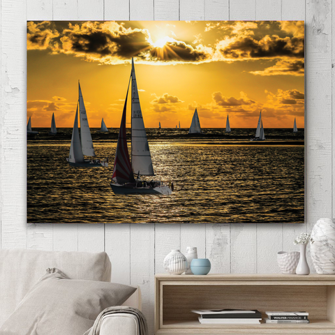 Sailing At Sunset-Wallart Rectangle-Medium - Not framed-Cool Tees & Things
