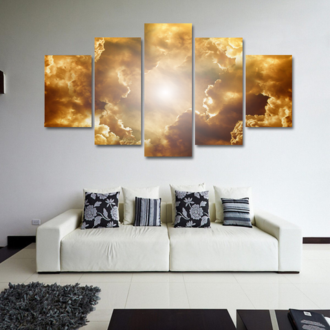 Salvation Clouds Canvas-Medium-Not Framed-Gold-Cool Tees & Things