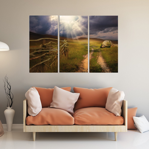 See the Light Canvas-Wallart 3 Piece Vertical Rectangle-Medium - Not framed-Blue-Orange-Cool Tees & Things