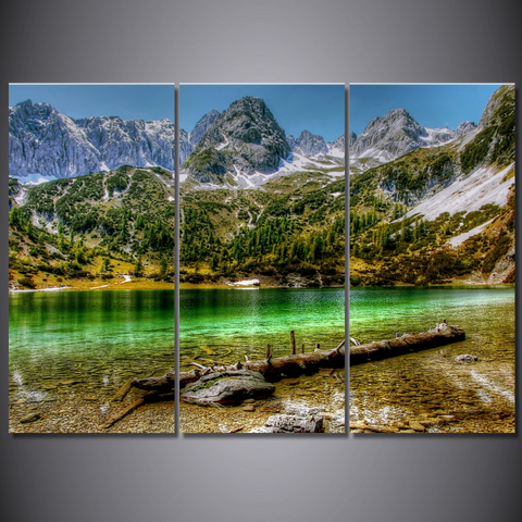 Seebensee Mountain Lake in Austria-Wallart 3 Piece Vertical Rectangle-Medium - Not framed-Green/Grey/Brown/White-Cool Tees & Things