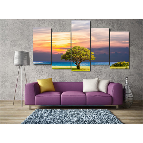 Serene Ocean Landscape-Wallart 5 Piece Staggered 2-Medium - Not framed-Green/Blue/Orange-Cool Tees & Things
