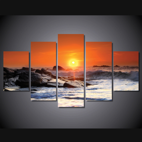 Sri Lanka Sunset-Wallart 5 Piece Diamond-Medium - No frame-Orange/White/Grey-Cool Tees & Things