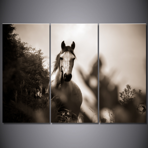 Stunning Grayscale Horse Canvas-Wallart 3 Piece Vertical Rectangle-Medium - Not framed-Grey/White-Cool Tees & Things