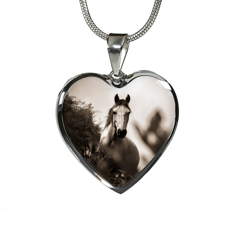 Stunning Grayscale Horse Heart Shaped Pendant and Bangle Jewelry - Cool Tees and Things