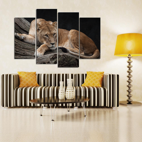 Stunning Lioness Canvas-Medium-Not Framed-Brown-Cool Tees & Things