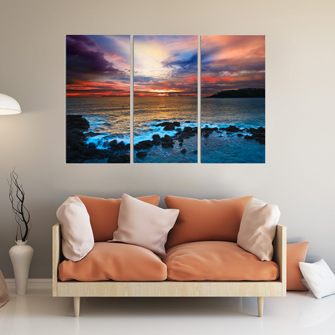 Stunning Ocean Sunset Canvas Print Wall Art Mural-Wallart 3 Piece Vertical Rectangle-Medium - Not framed-Orange, Yellow, Purple, Blue-Cool Tees & Things