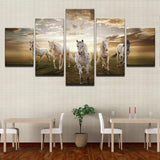 Stunning Running Horses At Sunset Canvas-10x15 10x20 10x25cm-Frame-Tan-Cool Tees & Things