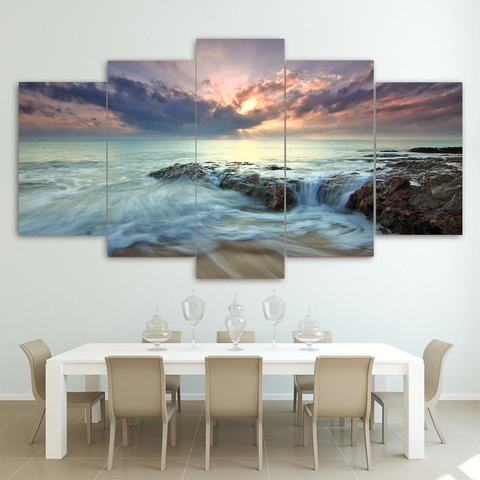 Stunning Sunset At Sea Canvas-Medium-Not Framed-Light Blue-Cool Tees & Things