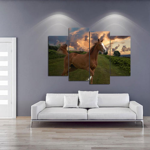 Stunning Thoroughbred Horse Canvas Print Wall Art Mural-Medium-Not Framed-Brown_Orange_Blue-Cool Tees & Things
