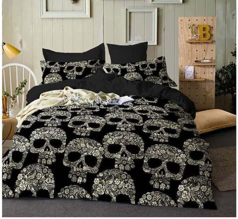 Sugar Skull Luxury Bedding Set. Polyester Black Duvet Covers - Cool Tees and Things