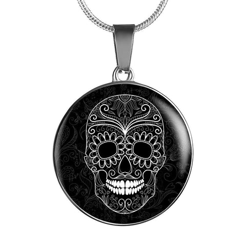 Sugar Skull Pendant Necklace - Cool Tees and Things