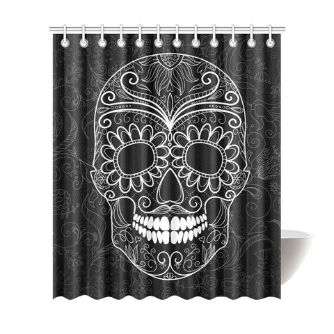 Sugar Skull Shower Curtain - Cool Tees and Things