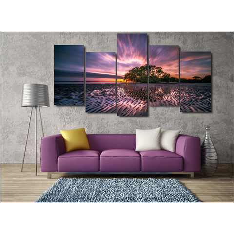 Sunrise Reflection-Wallart 5 Piece Staggered-Medium - No frame-Purple/Orange/Green-Cool Tees & Things