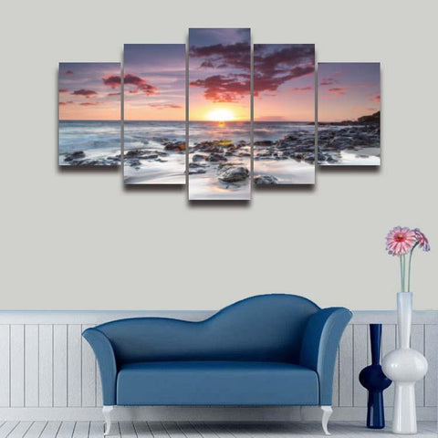 Sunset At Sea-Size1 W 100cm H 55cm-Not Framed-Blue/Orange/Pink-Cool Tees & Things
